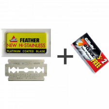 Feather New Hi-Stainless Barberblade (10 stk) + Gillette 7 O Clock Super Platinium Barberblade (7 stk)