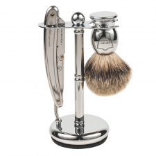 Parker SR1 Barber Razor & Pure Badger 3-Piece Shave Set (made4men)
